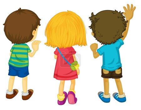 Illustration for Illustration of 3 kids with backs facing - Royalty Free Image