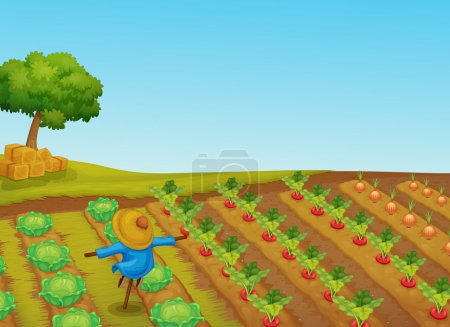 Illustration for Illustration of a scarecrow in a vegetable patch - Royalty Free Image
