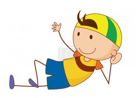 Illustration pour Caricature simple d'un garçon mignon - image libre de droit