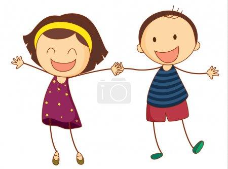 Illustration pour Illustration d'une fille et d'un garçon ensemble - image libre de droit