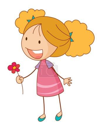 Illustration pour Illustration de dessin animé simple d'une fille mignonne - image libre de droit