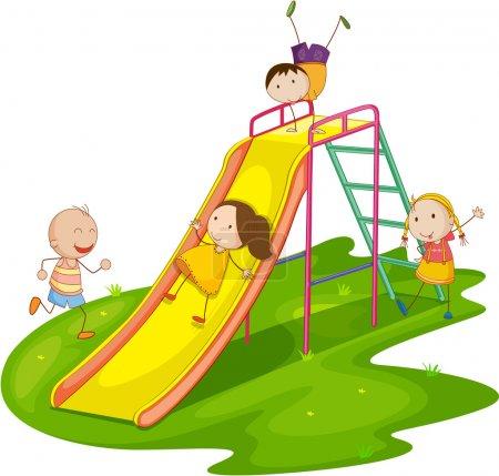 Illustration pour Illustration d'un groupe d'enfants jouant - image libre de droit