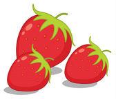 Illustration of three strawberries on white