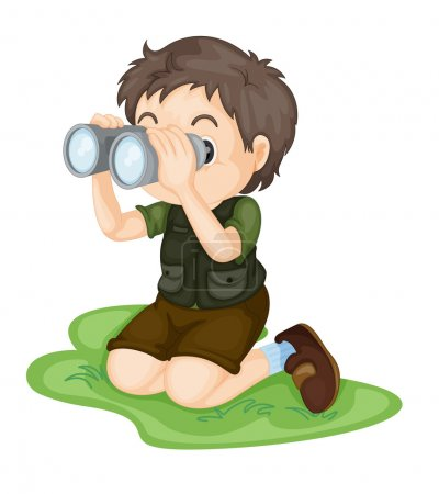 Illustration for Illustration of boy using binoculars - Royalty Free Image