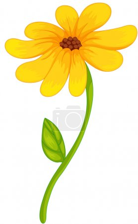 Illustration for Illustration of an isolated yellow flower - Royalty Free Image