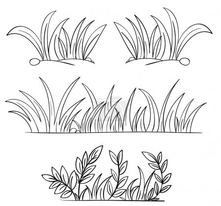 Illustration for Illustration of grass and plant outlines - Royalty Free Image
