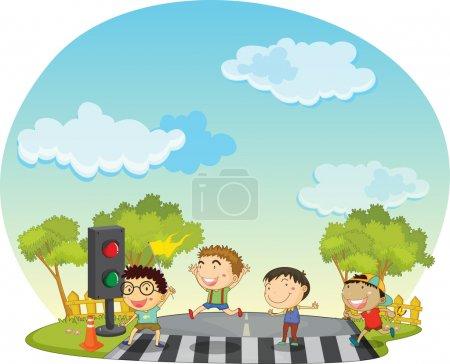 Children crossing street