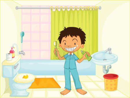 Illustration for Child in bathroom illustration image - Royalty Free Image