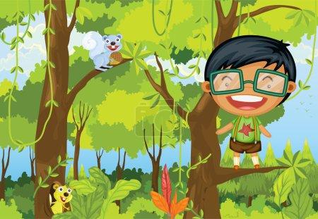 Illustration pour Illustration d'un garçon debout sur une branche d'un arbre sur fond coloré - image libre de droit