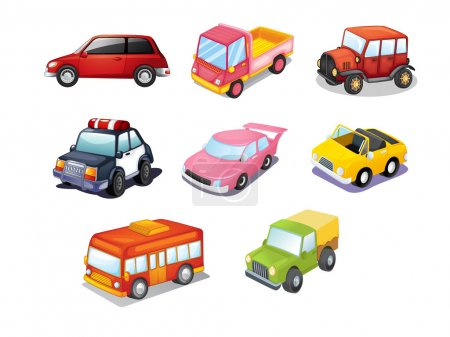 Illustration pour Illustration de voitures isolées sur blanc - image libre de droit