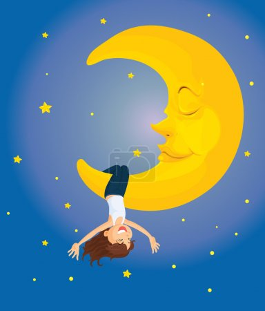 Illustration for Illustration of hanging on the moon - Royalty Free Image
