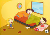 Illustration of a kids playing in a room