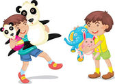 Illustration of a boy with animal toys on white