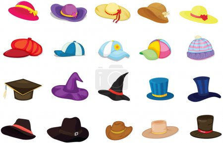 Illustration for Illustration of mixed hats on white - Royalty Free Image
