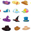 Illustration of mixed hats on white...