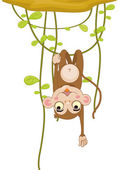 Illustration of a cartoon monkey on white