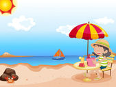 Illustration of girl reading at the beach