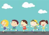 Illustration of kids on blue sky background