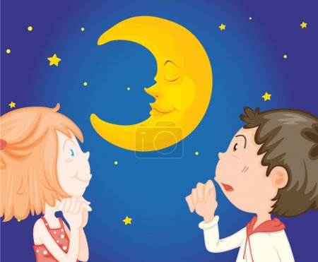 Illustration for Couple looking at night sky - Royalty Free Image