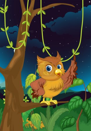 Illustration for Illustration of an owl at night - Royalty Free Image