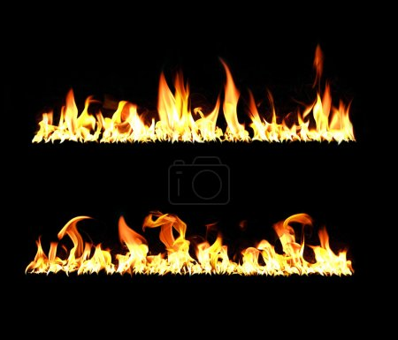 Photo for Two lines of flames on a black background, high contrast, high resolution - Royalty Free Image