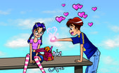 Romantic boy and girl