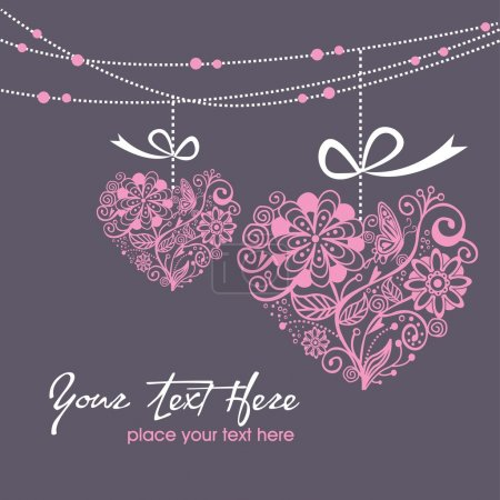 Illustration for Greeting hanging heart - Royalty Free Image