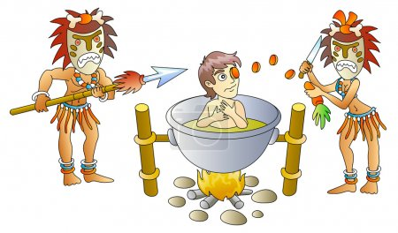 Illustration for Victim and cannibals, soup from person, humour, vector illustration - Royalty Free Image