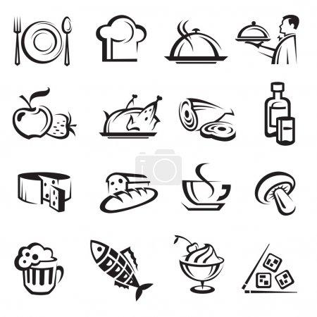 Photo pour Image monochrome avec les icônes de la nourriture - image libre de droit