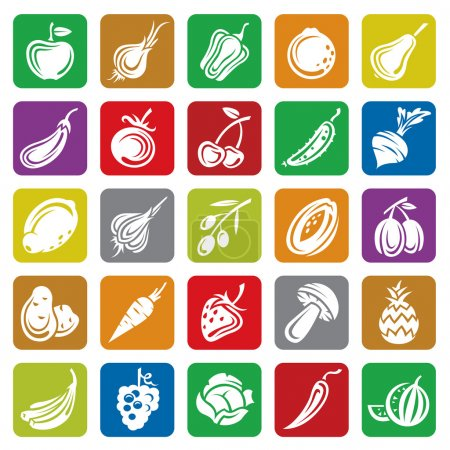 Illustration for Set of fruits and vegetables icons - Royalty Free Image
