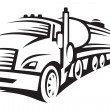 Monochrome illustration of fuel truck with cistern...