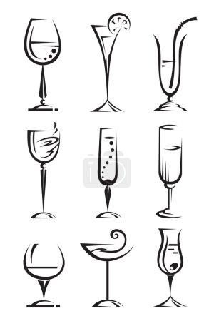 Illustration pour Ensemble de verres à vin et à liqueur - image libre de droit