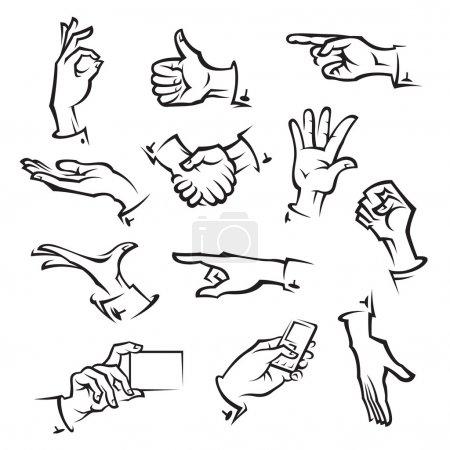 Illustration for Set of twelve monochrome hands - Royalty Free Image
