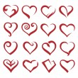 Set of sixteen icons of hearts