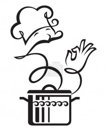 Illustration pour Illustration monochrome d'une casserole à vapeur comme cuisinier - image libre de droit