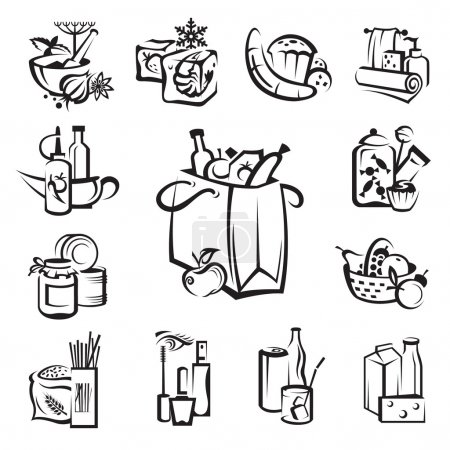 Illustration for Monochrome image with set of food and goods icons - Royalty Free Image