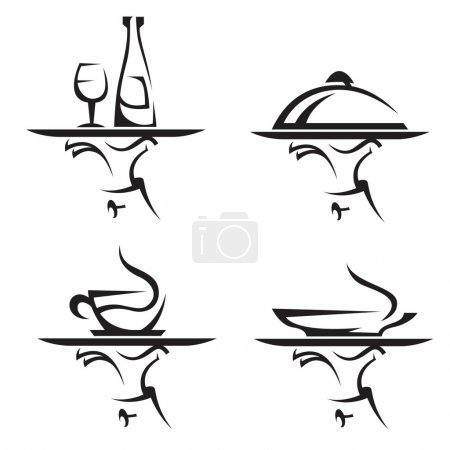 Illustration pour Ensemble de quatre restaurants icônes - image libre de droit