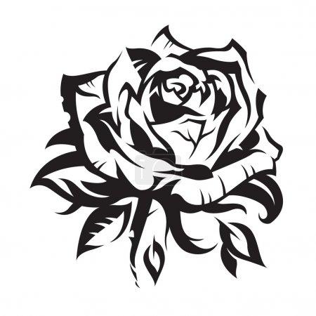 Illustration for Black rose on white background - Royalty Free Image