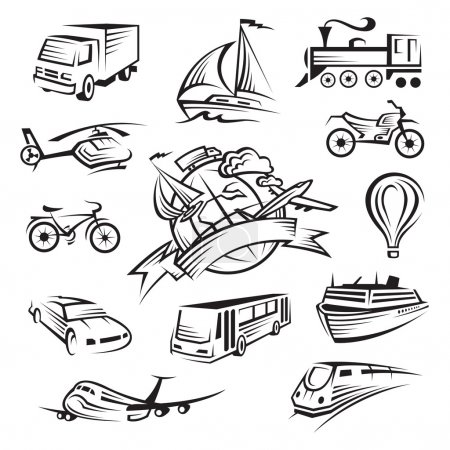 Illustration for Monochrome collection of fourteen types of transport - Royalty Free Image