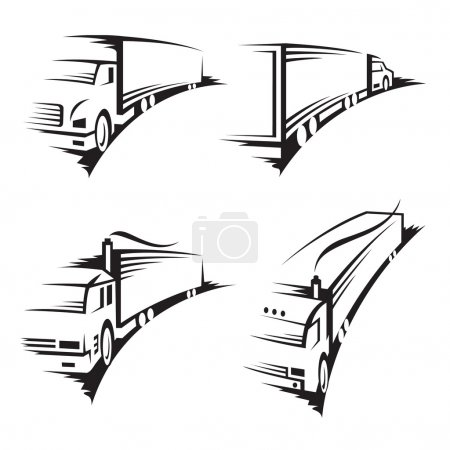 Illustration pour Collection monochrome d'un camion avec remorque - image libre de droit