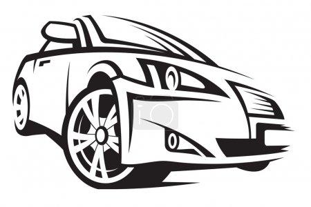 Illustration pour Illustration monochrome d'une voiture - image libre de droit