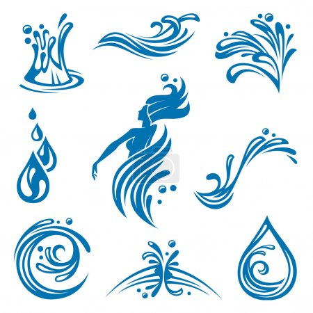 Illustration for Set of abstract waters icons - Royalty Free Image