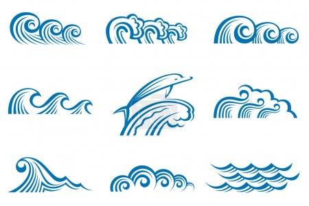 Illustration for Illustration collection of sea waves - Royalty Free Image