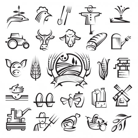 Illustration for A set of twenty-five agriculture and farming icons - Royalty Free Image