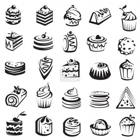Monochrome collection of cakes and cupcakes...