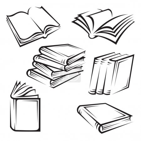 Illustration for Set of six monochrome illustrations of books - Royalty Free Image