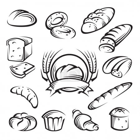 Illustration pour Ensemble de seize boulangerie monochrome - image libre de droit