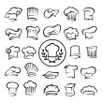 Monochrome set of twenty-five chef hats