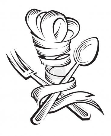 Illustration pour Chapeau de chef monochrome avec cuillère et fourchette - image libre de droit