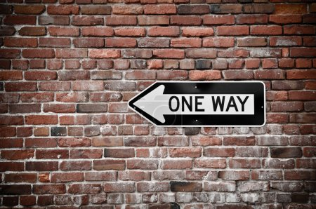 Photo for Grunge Brick Wall with Black and White One Way Sign - Royalty Free Image